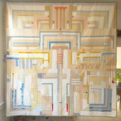 """Here it is! #adampoguequilt #2 or APQ2. Machine pieced and hand-quilted with mixed fabrics. I also used coffee and onion skins to dye some of this. 104"""" x 104"""" #quilt #textile #iamadampogue"""