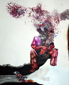 Marta Zmpounou 'Burst' Ink, acrylic, watercolour, coloured pencils and collage on paper, 122x152cm, 2011