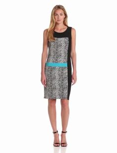 Amazon.com: Chaus Women's Sleeveless Colorblock Animal Dress: Clothing