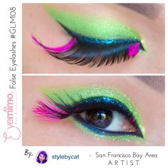 What a fun #eyemakeup color for #summer with our #fun #featherfalseeyelashes {style #GLM08} by Artist #iger ~ @stylebycat   Buy false eyelashes at http://www.shopeyemimo.com/glm08-eyemimo-false-eyelashes  Please share with us, what occasion this eye makeup will be perfect for?
