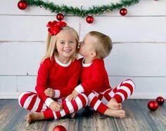 Santa Christmas pajamas top and pants sets by BirdieJamesEandS