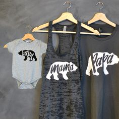 Papa Bear + Mama Bear + Baby Bear Shirt Package, Mama Bear Tank, Baby Bear Onsie, Baby shower, Mothers day gift, Papa Bear, Mommy and me by HelloHandpressed on Etsy https://www.etsy.com/listing/253504651/papa-bear-mama-bear-baby-bear-shirt