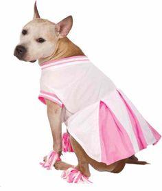 Cheerleader Pink White Uniform Cute Fancy Dress Up Halloween Pet Dog Cat Costume #Rubies