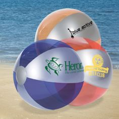 PL-3606 Luster Tone Beach Ball. PVC beach ball with alternating silver and translucent panels.