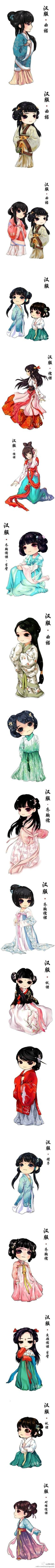 Chinese dress, hanfu - the nice thing about this drawing set is it's simple enough to see and understand what's going on in the outfit