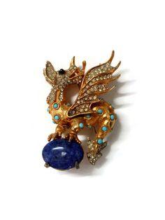 Rare Vintage Kenneth Jay Lane Turquoise Jeweled by TheOpulentHippo