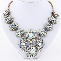 Resin Gems Complex Combo Style Floral Costume Necklace