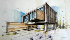 .. Concept Board Architecture, Colour Architecture, Architecture Sketchbook, Interior Architecture, House Sketch, House Drawing, Building Sketch, Building Design, Perspective Drawing