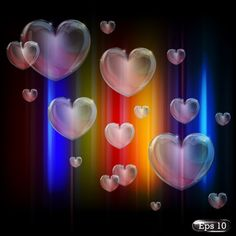 colorful glow crystal heart shape background