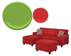 the red couch that the living room is being designed around