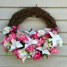 DIY wreath, flowers from dollar tree store