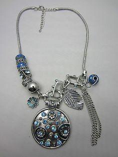 Bead Charm Necklace Antique Finish Silver Tone Metal Blue Rhinestone Chunky