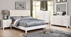 """Enrico I 4 Pcs Bedroom Sets - CM7068WH $657  Description :  It's time to update your bedroom with sleek contemporary styling. The platform bed features a leatherette headboard that comes in different colors, depending on which finish you choose: gray, white, espresso, or brown cherry. The matching case goods round out this great bedroom group.  Features:  Contemporary Style Platform Bed Leatherette Headboard Solid Wood, Wood Veneer & Others* White Finish Dimensions:  Queen : 85""""L X 63 1/2""""W…"""