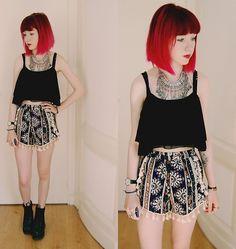 New Dress Crop Top, Romwe Shorts, Lamoda Chunky Boots