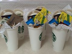 Bunco prizes! These Starbucks insulated cups are only $1 and make great gift baskets.