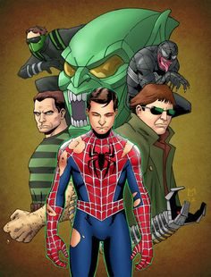 awesome spiderman villains I by DC-Miller on DeviantArt Spiderman Sam Raimi, Spiderman 2002, Spiderman Movie, Amazing Spiderman, Marvel Art, Marvel Dc Comics, Marvel Heroes, Marvel Characters, Batman Begins