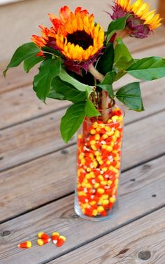 Candy Corns and Sunflowers: How to Create a DIY Fall Flower Arrangement | Mom it Forward