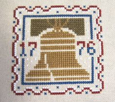 Completed Cross Stitch Picture - Prairie Schooler - Summer - Liberty Bell - Patriotic.