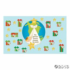 """""""The Gift That Changed the World"""" Mini Bulletin Board Set - Discontinued Catholic Bulletin Boards, Bulletin Board Borders, School Bulletin Boards, Teacher Supply Store, Teacher Supplies, Oriental Trading, Change The World, Sunday School, Great Gifts"""