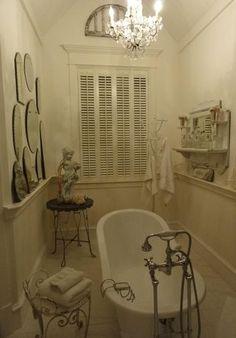 Shabby Chic Bathroom Narrow Space With A Vintage Claw Foot Bathtub