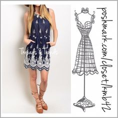 Navy & White Vintage Print Dress Adorable navy and white sleeveless dress. Featuring 2 front pockets and a drawstring waistline. Give it a boho look with a pair of gladiator sandals or a girly look with dressy heels. Made of cotton. Size S, M, L Threads & Trends Dresses