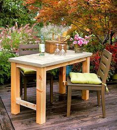 Concrete tables make a stylish addition to any outdoor space.