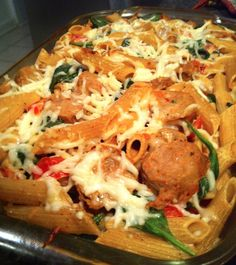 light & healthy pasta bake with chicken sausage, mozzarella, spinach & tomatoes