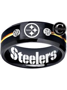 Pittsburgh Steelers Ring Black and Gold Steelers Logo Ring tungsten ring, sizes 6 - 13 available. Customize with a special name, date or message on the inside of the band. Steelers Rings, Pitsburgh Steelers, Pittsburgh Steelers Football, Steelers Stuff, Pittsburgh Sports, Pittsburgh Steelers Merchandise, Pittsburgh Steelers Wallpaper, Steeler Nation, Black Rings