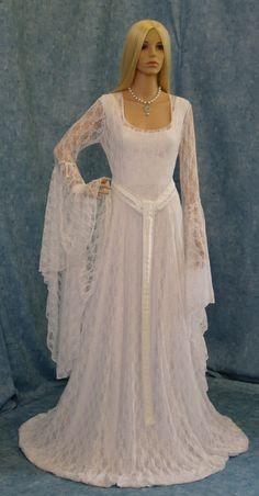 Galadriel white lace dress LOTR hobbit Renaissance medieval handfasting wedding custom made. $398.00, via Etsy.