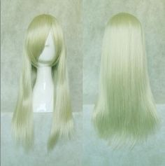 Light Gold Synthetic Medium Silky Straight Cosplay Party Lady's Hair Full Wig