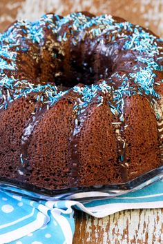Chocolate Pound Cake Recipe  -  I'd use different color sprinkles, don't like the blue