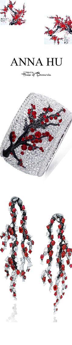 ~Anna Hu Winter Plum Earrings & Japanese Cherry Blossom Ruby, Onyx, Black & White Diamond Bracelet | House of Beccaria