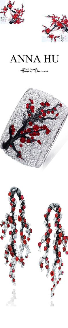 ~Anna Hu Winter Plum Earrings & Japanese Cherry Blossom Ruby, Onyx, Black & White Diamond Bracelet | House of Beccaria