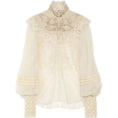 Ralph Lauren Collection Therese embellished silk-tulle blouse ($1,155) ❤ liked on Polyvore featuring tops, blouses, shirts, blusas, long sleeve sheer blouse, see through blouse, fitted shirt, sheer shirt and ruffle blouse