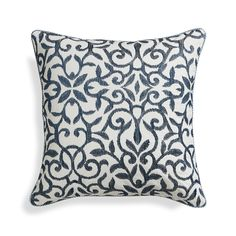 "Catania Indigo 16"" Pillow with Feather Insert  