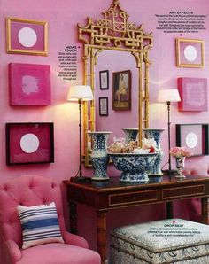 Not a pink girl, but I love this.  Though I would have different (i.e. not symmetrical) artwork on the walls