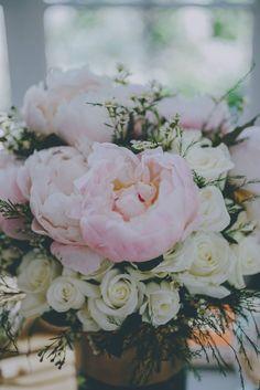 Bridal Shower Peonie and rose arrangement