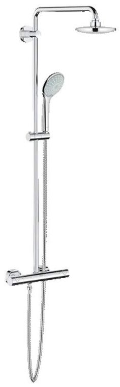 Grohe 26 128 Euphoria Thermostatic Shower System with Adjustable Hand Shower Hol Starlight Chrome Faucet Shower System Double Handle