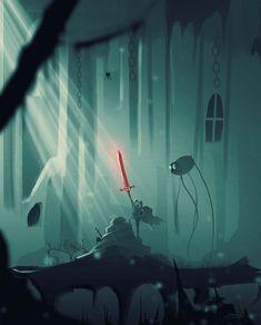 The blood sword (adventure time spitpaint30min, Anato Finnstark on ArtStation at https://www.artstation.com/artwork/bzl5E