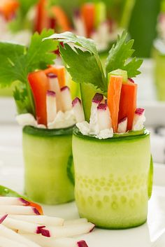 You're going to LOVE this new twist on sushi! Fresh cucumbers, radish, carrot, and cilantro. It is yum!