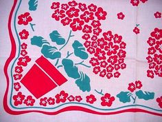 Vintage RED GERANIUMS Cottage Garden FLORAL Tablecloth CLASSIC FLOWERS Sweet!  | eBay