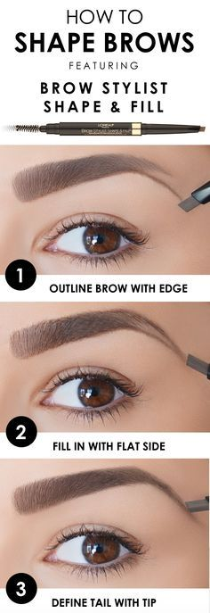 How to shape brows with L'Oreal Brow Stylist Shape & Fill pencil. First, outline brow with edge of tip. Then fill in with flat side, and finish by defining tail with tip.