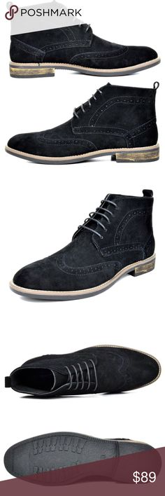 """Mens Bruno Urban Suede Leather Oxford Chukka Boots NWT New  Men's Classic Modern Oxfords Lace Up Chukka Boots Color: Black  Features:  Premium Suede Leather Lace-up front closure Durable Sole  Plain-toe Chukka boot Platform measures approx 0.5"""" Heel height 1"""" approx  Non Skid outsole  @alexambrands ALexam aLexam-2black Shoes Chukka Boots"""