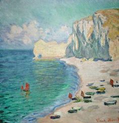 Claude Monet: The beach and the falaise d'Amont (ARTIC Chicago)