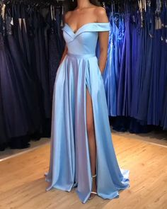A-Line Off-the-Shoulder Long Prom Dress Formal Evening Dresses 601808 Evening Dress Long, Formal Evening Dresses, Evening Gowns, Long Satin Dress, Satin Skirt, Evening Party, Pretty Prom Dresses, Prom Dresses Blue, Beautiful Dresses