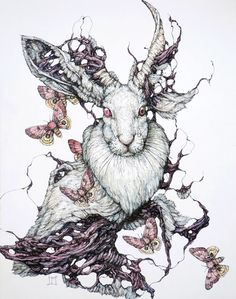 this jackalope as the base of one of my tattoos would be crazy cool, it could have its paw on a skull and moths and flowers everywhere