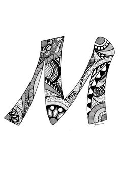 Items similar to Letter M Monogram Print - Zentangle Inspired on Etsy Doodle Art Drawing, Zentangle Drawings, Mandala Drawing, Zentangle Patterns, Doodle Art Letters, Drawing Letters, Mandala Art Lesson, Hand Lettering Art, Doodle Art Designs