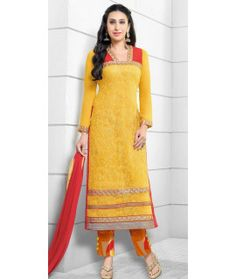 Sizzling Yellow And Orange Georgette Straight Suit.