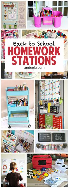 DIY BACK TO SCHOOL Homework Stations - I love these ideas to get the kids…