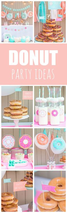 Mint and Coral Donut Birthday Party - Pretty My Party - Party Ideas Mint and Coral Donut Party featured on Pretty My Party<br> Bake up a super delicious Mint and Coral Donut Birthday Party like this one with a DIY Donut Pinata and DIY Donut Balloons! Donut Party, Donut Birthday Parties, Birthday Party Themes, Birthday Ideas, Party Kit, Party Ideas, Girl First Birthday, 9th Birthday, Frozen Birthday